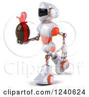 Clipart Of A 3d White And Orange Robot Walking With A Chocolate Easter Egg Royalty Free Illustration
