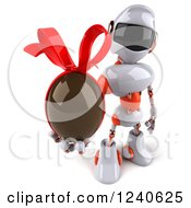 Clipart Of A 3d White And Orange Robot Holding A Chocolate Easter Egg 2 Royalty Free Illustration