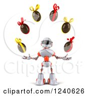Clipart Of A 3d White And Orange Robot Juggling Chocolate Easter Eggs Royalty Free Illustration