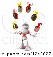 Clipart Of A 3d White And Orange Robot Juggling Chocolate Easter Eggs 2 Royalty Free Illustration