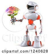 3d White And Orange Robot Holding A Bouquet Of Flowers
