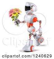 3d White And Orange Robot Walking With A Bouquet Of Flowers