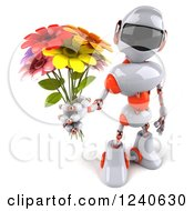 Clipart Of A 3d White And Orange Robot Holding Up A Bouquet Of Flowers Royalty Free Illustration