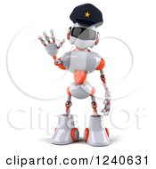 Clipart Of A 3d White And Orange Male Techno Robot Police Officer Gesturing To Stop 2 Royalty Free Illustration