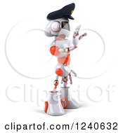 Clipart Of A 3d White And Orange Male Techno Robot Police Officer Gesturing To Stop 3 Royalty Free Illustration