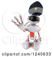 Clipart Of A 3d White And Orange Male Techno Robot Police Officer Gesturing To Stop 4 Royalty Free Illustration