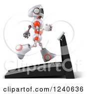 Clipart Of A 3d White And Orange Robot Running On A Treadmill 2 Royalty Free Illustration