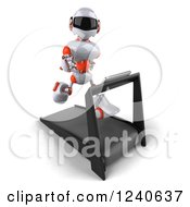 Clipart Of A 3d White And Orange Robot Running On A Treadmill 3 Royalty Free Illustration