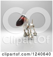 Clipart Of A 3d Robot Dog Walking 4 Royalty Free Illustration by Julos