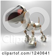 Clipart Of A 3d Robot Dog Walking 5 Royalty Free Illustration by Julos
