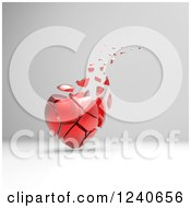 Clipart Of A 3d Crumbling Red Heart Over Gray Shading Royalty Free Illustration