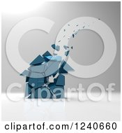 Clipart Of A 3d Crumbling Blue House Over Gray Shading Royalty Free Illustration