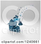 Clipart Of A 3d Crumbling Blue House Over Gray Shading 2 Royalty Free Illustration