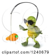 Clipart Of A 3d Tortoise Wearing Sunglasses And Chasing A Carrot On A Stick 2 Royalty Free Illustration