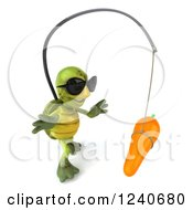 Clipart Of A 3d Tortoise Wearing Sunglasses And Chasing A Carrot On A Stick 3 Royalty Free Illustration