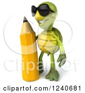 Clipart Of A 3d Tortoise Wearing Sunglasses And Standing With A Giant Pencil Royalty Free Illustration
