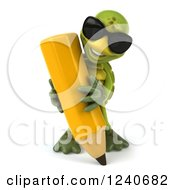 Clipart Of A 3d Tortoise Wearing Sunglasses And Writing With A Giant Pencil Royalty Free Illustration