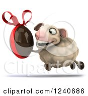 Clipart Of A 3d Happy Sheep Running With A Dark Chocolate Easter Egg Royalty Free Illustration