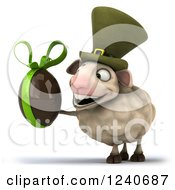 Clipart Of A 3d Irish Sheep Holding A Dark Chocolate Easter Egg 3 Royalty Free Illustration