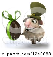 Clipart Of A 3d Irish Sheep Running With A Dark Chocolate Easter Egg 2 Royalty Free Illustration