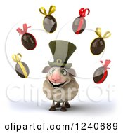 Clipart Of A 3d Irish Sheep With Floating Easter Eggs Royalty Free Illustration