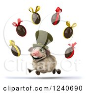 Clipart Of A 3d Irish Sheep With Floating Easter Eggs 2 Royalty Free Illustration