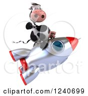 Clipart Of A 3d Cow Flying On A Rocket Royalty Free Illustration