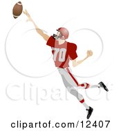 Male Football Player Athlete Jumping To Catch The Ball During A Game People Clipart Picture by AtStockIllustration