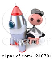 Clipart Of A 3d Cow Wearing Sunglasses And Standing By A Rocket Royalty Free Illustration