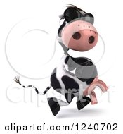 Clipart Of A 3d Cow Wearing Sunglasses And Running Royalty Free Illustration
