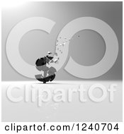 Clipart Of A 3d Crumbling Black Dollar Currency Symbol Over Gray Shading Royalty Free Illustration