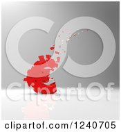 Clipart Of A 3d Crumbling Red Euro Currency Symbol Over Gray Shading Royalty Free Illustration