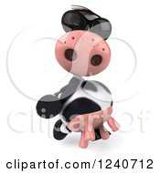 Clipart Of A 3d Cow Wearing Sunglasses And Walking Royalty Free Illustration