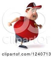 Clipart Of A 3d Chubby Man Running Royalty Free Illustration