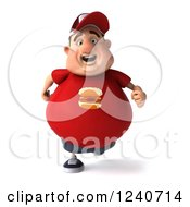 Clipart Of A 3d Chubby Man Running 2 Royalty Free Illustration