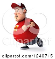 Clipart Of A 3d Chubby Man Running 3 Royalty Free Illustration