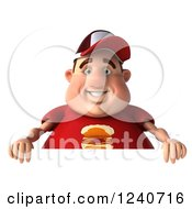 Clipart Of A 3d Chubby Man Over A Sign Royalty Free Illustration