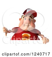 Clipart Of A 3d Chubby Man Holding A Thumb Down Over A Sign Royalty Free Illustration