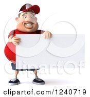 Clipart Of A 3d Chubby Man Holding A Blank Sign 2 Royalty Free Illustration