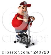 Clipart Of A 3d Chubby Man Exercising On A Spin Bike Royalty Free Illustration
