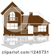 Clipart Of A Brown Residential Home And Reflection Royalty Free Vector Illustration