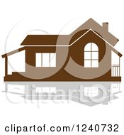 Clipart Of A Brown Residential Home And Reflection 2 Royalty Free Vector Illustration