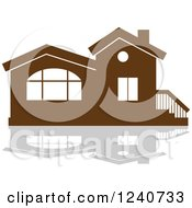 Clipart Of A Brown Residential Home And Reflection 3 Royalty Free Vector Illustration