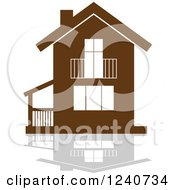 Clipart Of A Brown Residential Home And Reflection 4 Royalty Free Vector Illustration