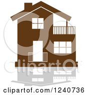 Clipart Of A Brown Residential Home And Reflection 6 Royalty Free Vector Illustration