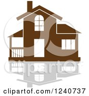Clipart Of A Brown Residential Home And Reflection 7 Royalty Free Vector Illustration