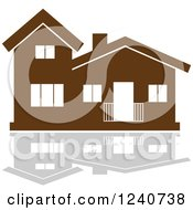 Clipart Of A Brown Residential Home And Reflection 8 Royalty Free Vector Illustration