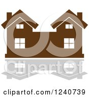 Clipart Of A Brown Residential Home And Reflection 9 Royalty Free Vector Illustration