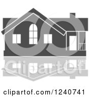 Clipart Of A Gray Residential Home And Reflection Royalty Free Vector Illustration by Vector Tradition SM