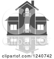 Clipart Of A Gray Residential Home And Reflection 2 Royalty Free Vector Illustration